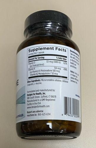 Designs For Health Vitamin D Supreme w/ K1 + K2 180 Capsules Exp. 8/22 FRESH! 1