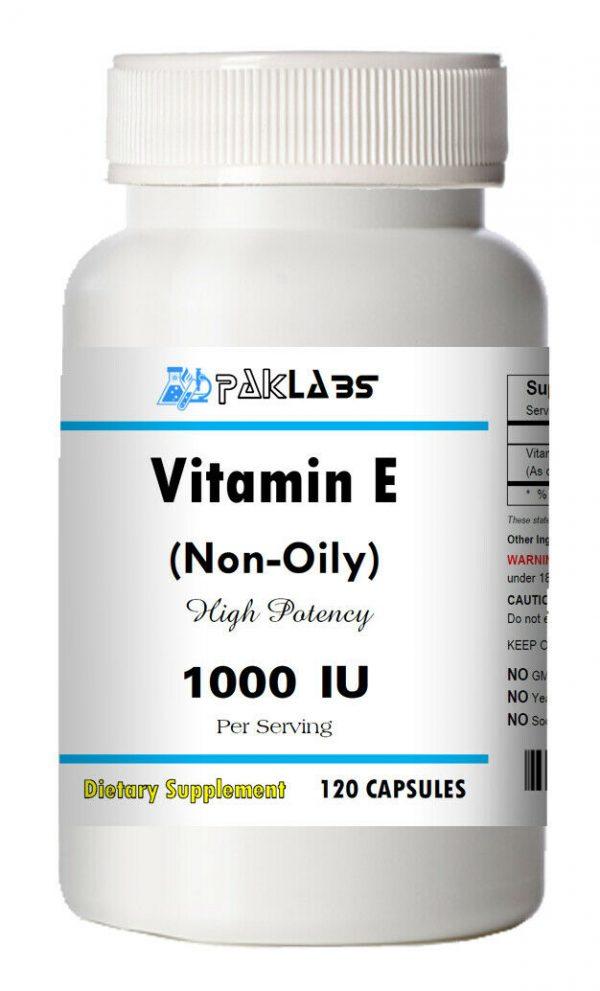 Vitamin E 1000 IU (non oily) Dl-Alpha Tocopheryl 120 Capsules BIG BOTTLE