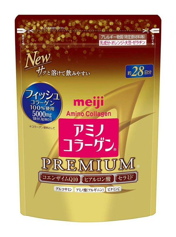 NEW 3 Gold Pack! Meiji PREMIUM Amino Collagen powder, 28days (196g) x 3 refills! 1