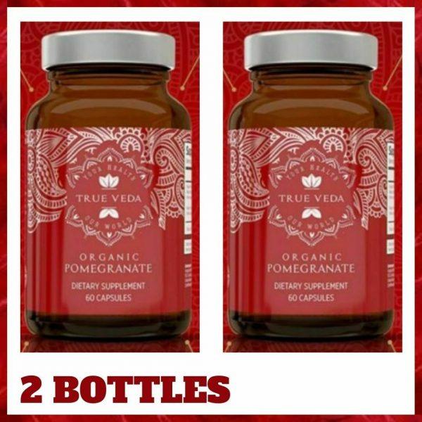 2 Bottles POMEGRANATE Supplement Antioxidant Blood Pressure Support TRUE VEDA