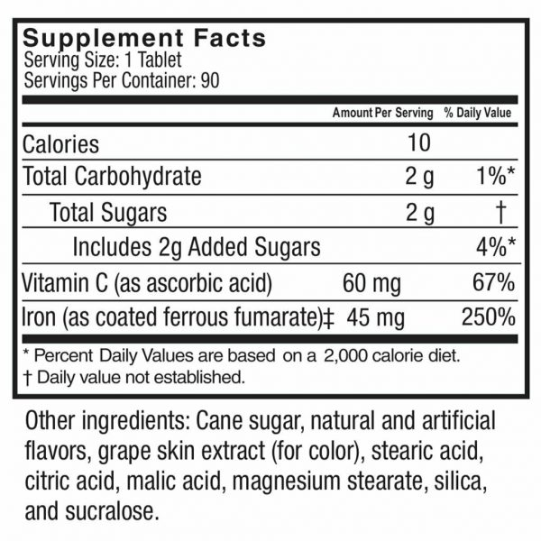 Celebrate Vitamins - Iron Chewable Tablets with Vitamin C 9