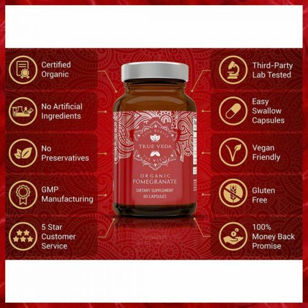 2 Bottles POMEGRANATE Supplement Antioxidant Blood Pressure Support TRUE VEDA 1