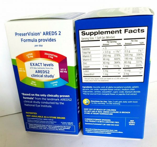 2X BAUSCH+LOMB PreserVision AREDS 2 Eye Vitamin&Mineral FORMULA 210 x2=420 Gels 1