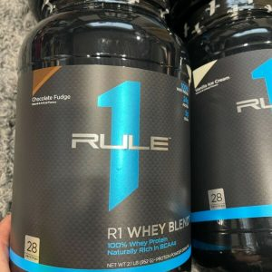 (4) RULE 1 R1 WHEY BLEND 1 Chocolate fudge and 3 vanilla 2.04 each 8.16lb total 1